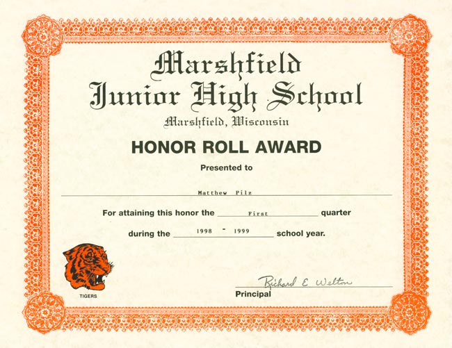 b honor roll certificate template - matthew j pilz online portfolio honors