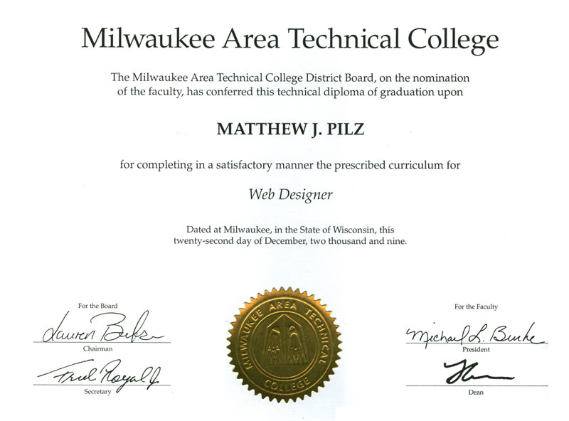 matc transcripts Matthew J. Pilz: Online Portfolio - Honors