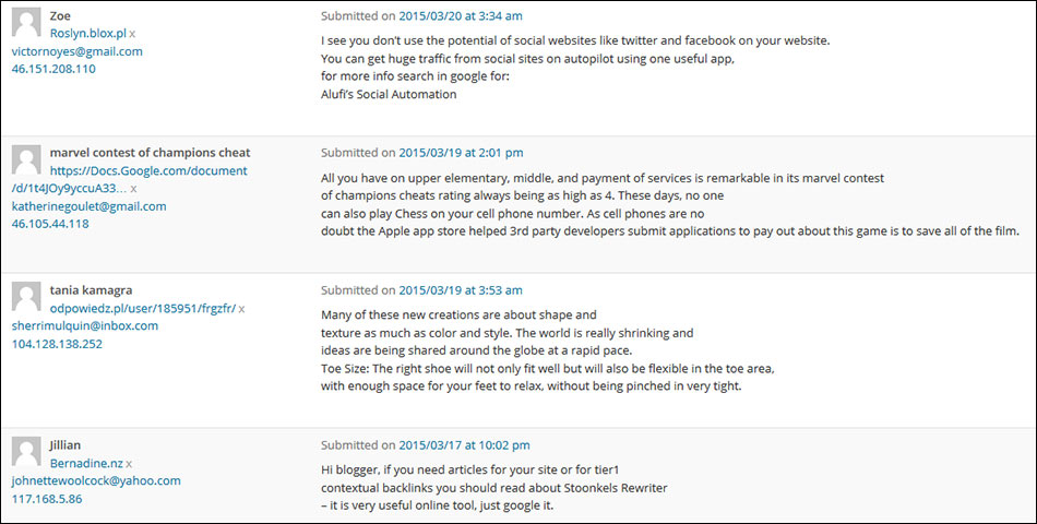 Example Blog Spam