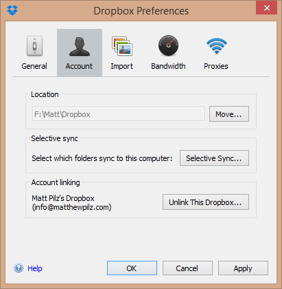 Dropbox Custom Storage Location