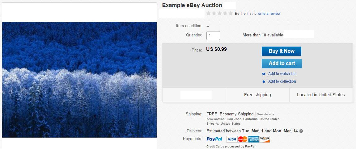 eBay Example Ad