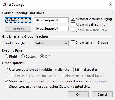 outlook set default reading font